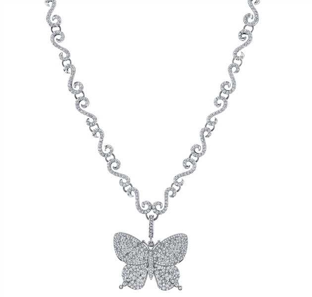 Rhonda Faber Green diamond butterfly necklace