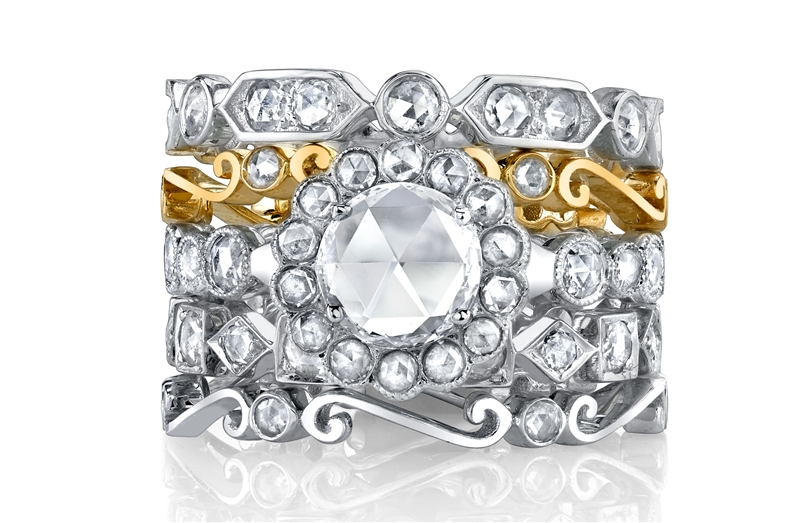 Rhonda Faber Green bridal collection rose-cut ring stack