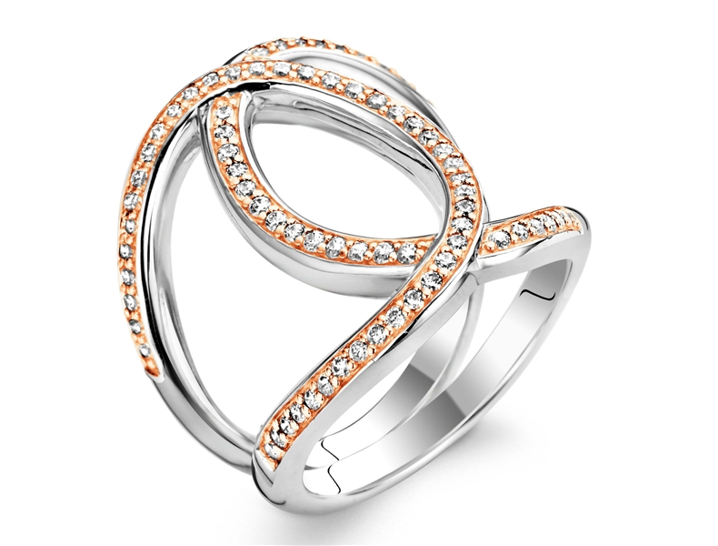 Ti Sento Milano two-tone CZ open ring