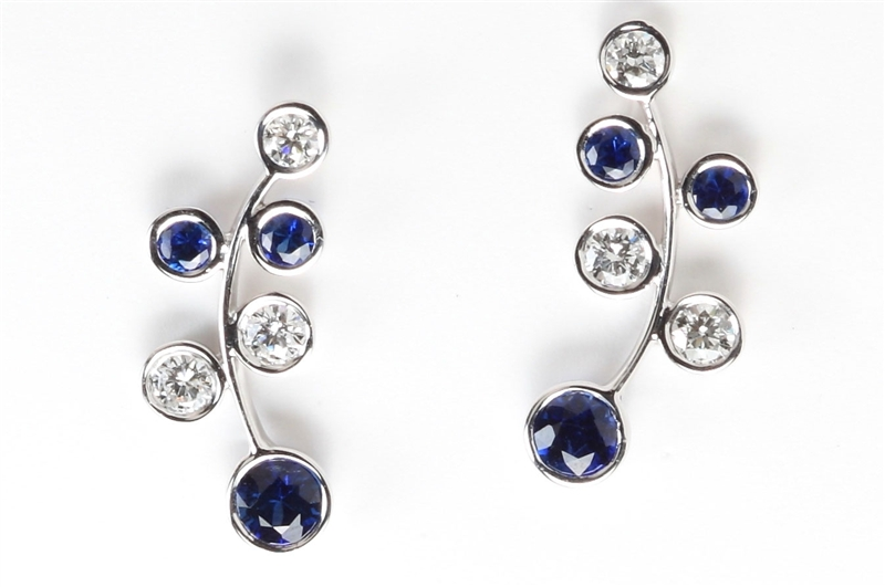 Rina Limor sapphire and diamond bezel ear climbers