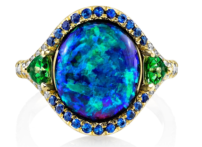 Omi Prive opal ring with sapphires and tsavorites