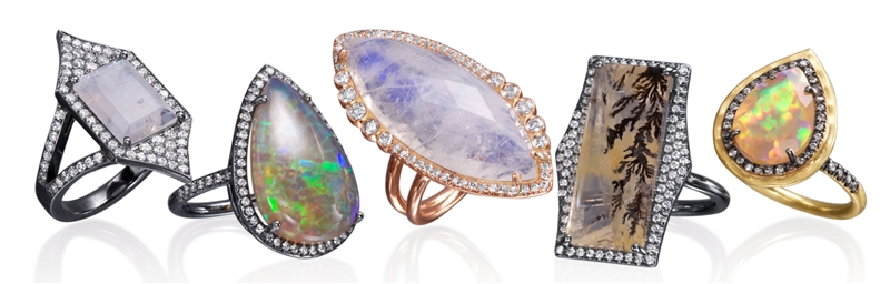 Lauren K colored gemstone ring collection