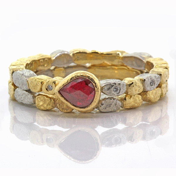 Rona Fisher skinny ring set with pear-cut ruby