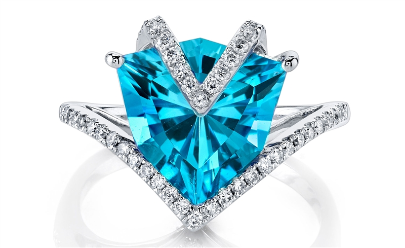 Ande Jewelry Swiss blue topaz shield ring