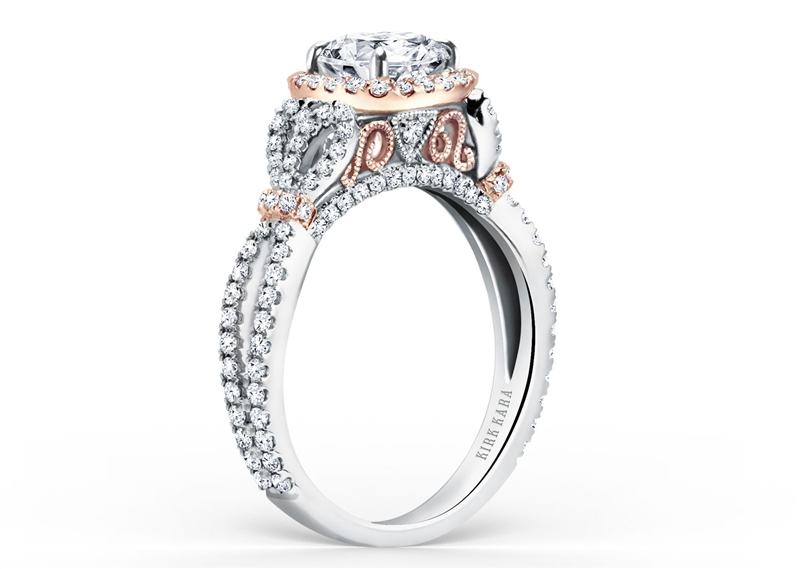 Kirk Kara Pirouette filigree two tone diamond engagement ring