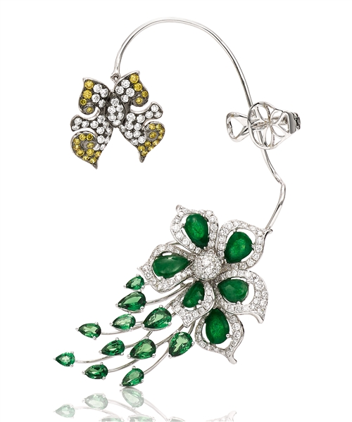 Wendy Yue butterfly and jade flower ear cuff