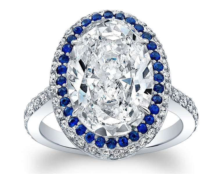 Norman Silverman Oval Diamond And Sapphire Halo Engagement Ring