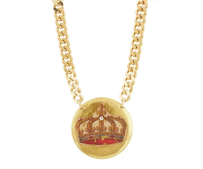 Evocateur large French Crown pendant necklace