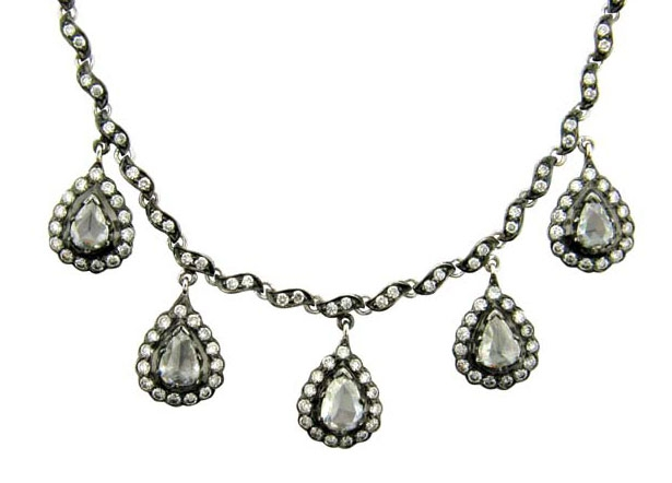 Sethi Couture rose-cut pear diamond drop necklace