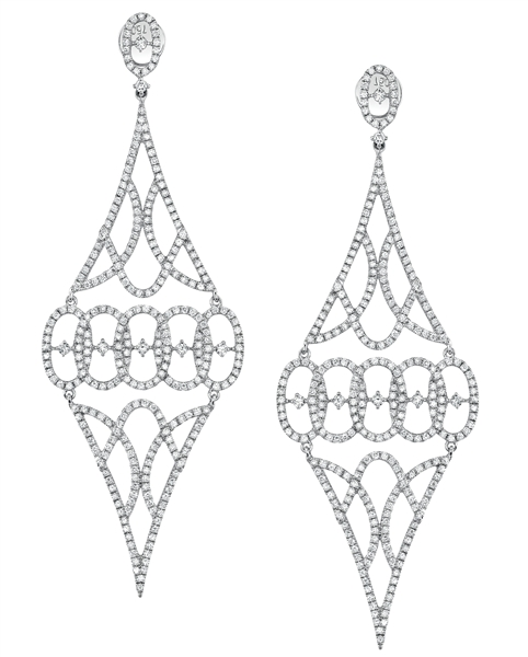 Sylvie Collection diamond lace drop earrings