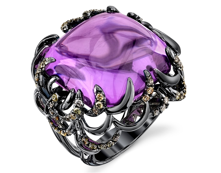 Sylvie Collection blackened amethyst cocktail ring