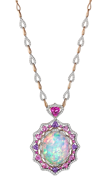 Spark opal and pink sapphire necklace