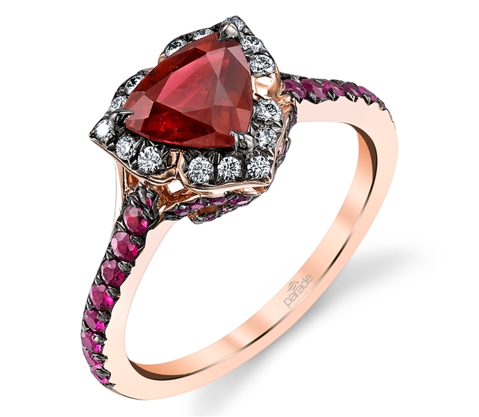 Parade Design rose gold ruby trillion ring