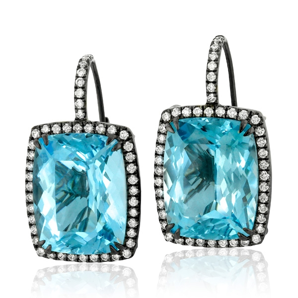 Yael Designs Icon Swiss blue topaz earrings
