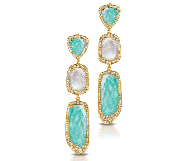 Doves by Doron Paloma amazonite and mother-of-pearl drop earrings