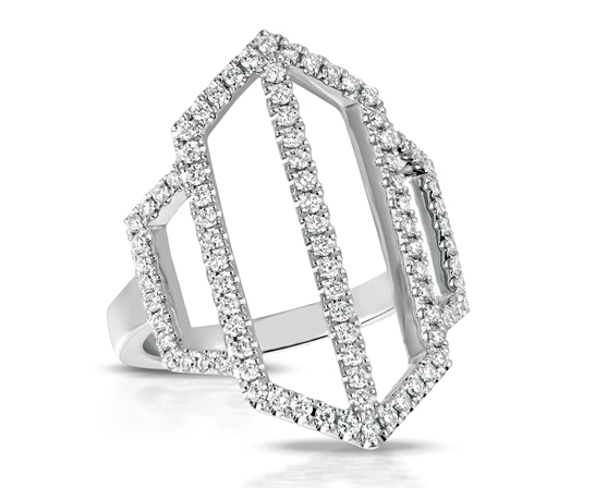 Doves by Doron Paloma geometric diamond ring