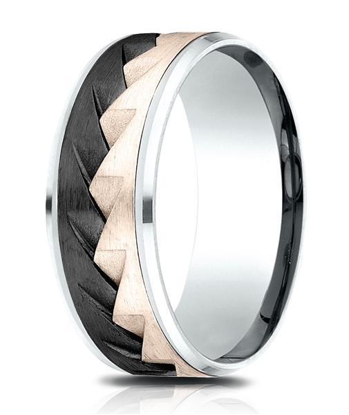 Benchmark tricolor sawtooth wedding band
