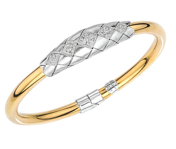 Alisa Traversa collection two tone quilted diamond bangle bracelet