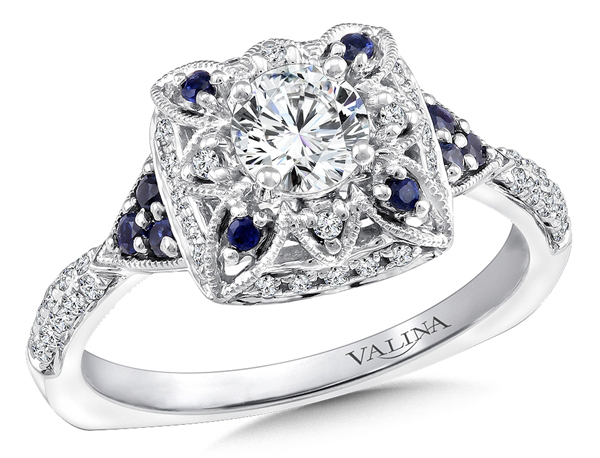 Simon Golub Valina Bridal sapphire accent engagement ring