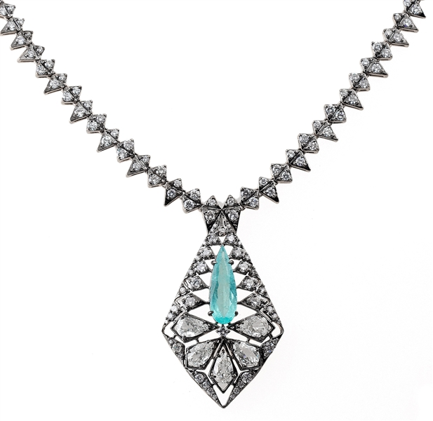 Bavna paraiba and diamond necklace