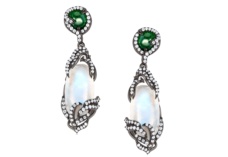 Arya Esha Diana rainbow moonstone and emerald earrings