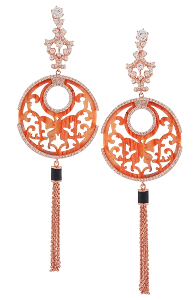 Angelique de Paris coral tassel butterfly earrings