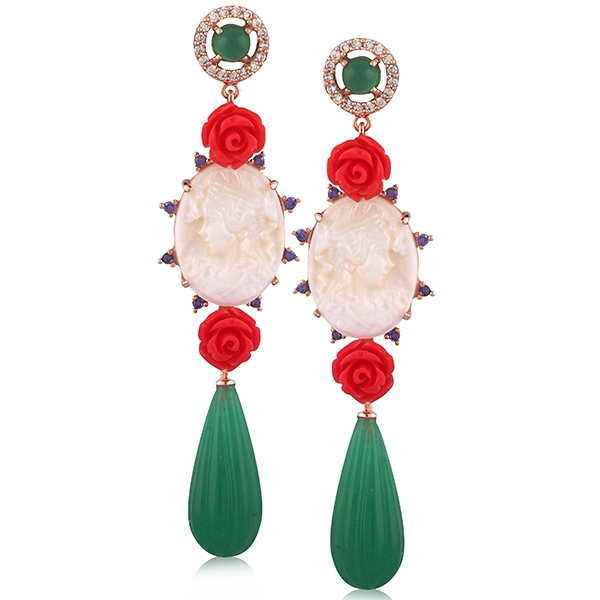 Angelique de Paris Principessa cameo earrings