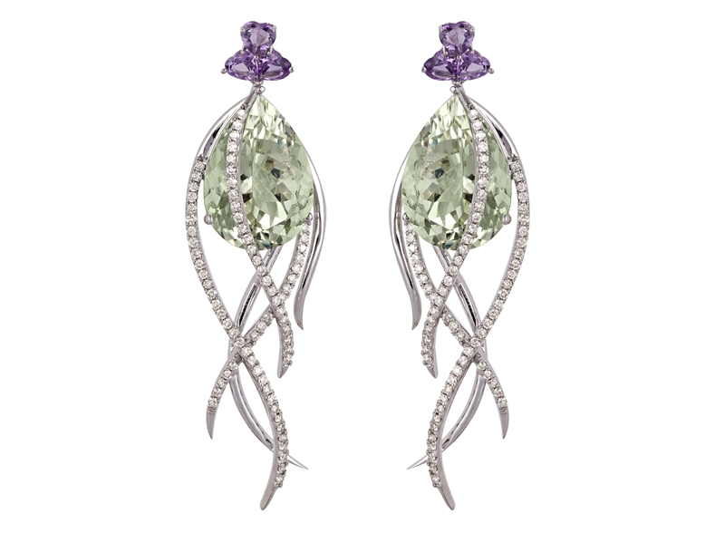 Arya Esha Galaxy collection prasiolite drop earrings