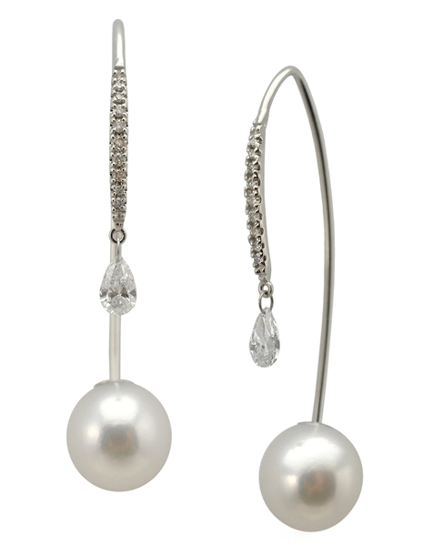 Baggins Akoya pearl and diamond threader earrings