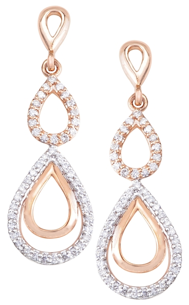 Asian Star Jewels tiered diamond teardrop earrings