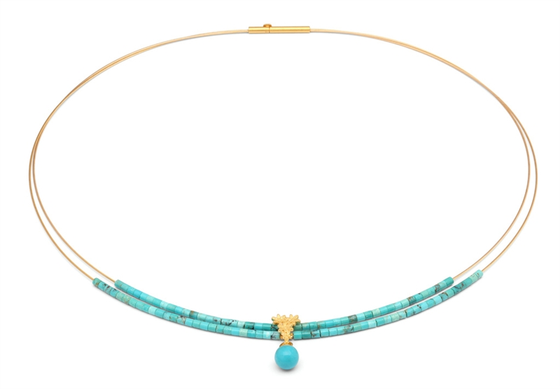 Bernd Wolf turquoise Florentine collar necklace