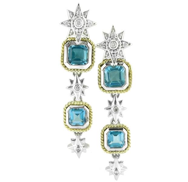 Andrea Candela tiered blue topaz starburst earrings