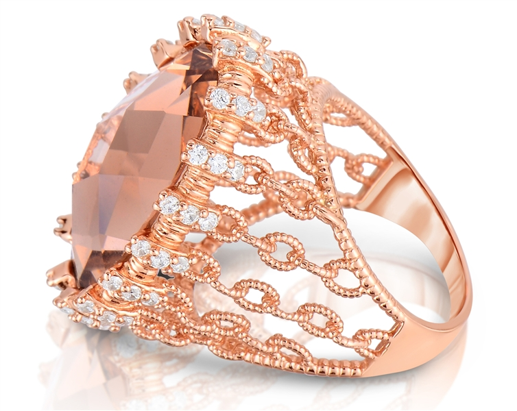 CZ Collections GENEVIVE morganite CZ ring