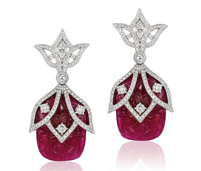 Andreoli carved ruby and diamond earrings