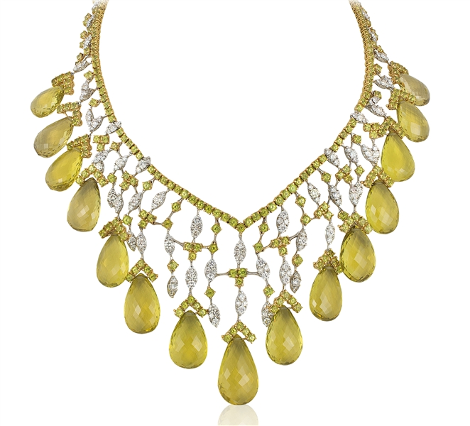 Andreoli peridot and diamond drop necklace