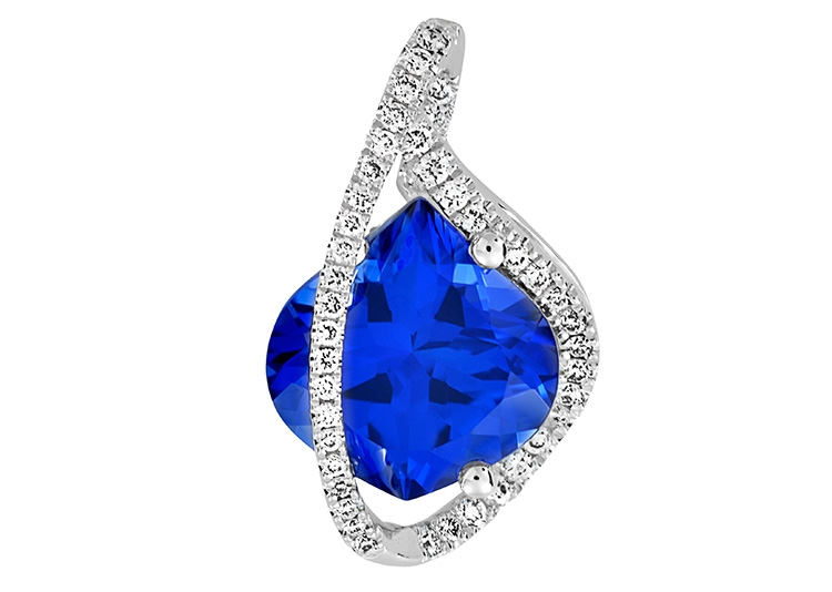 Chatham created blue sapphire pendant