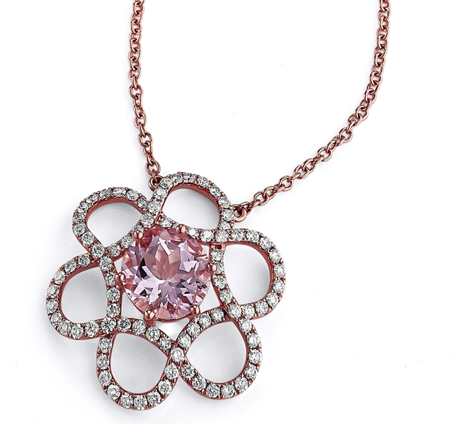 Akiva Gil morganite flower pendant