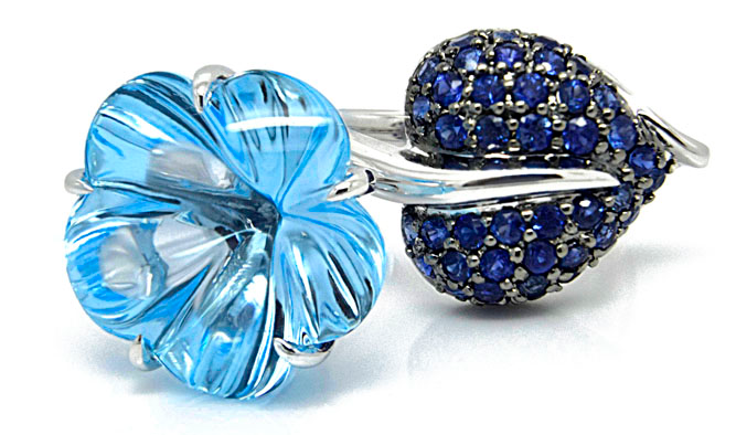 El Dorado blue topaz and sapphire flower ring