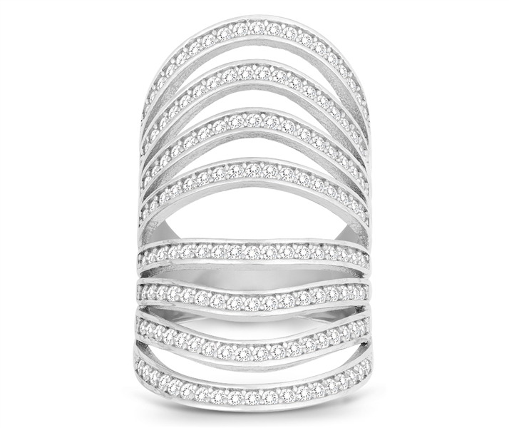 Classic of New York curved multi row CZ ring