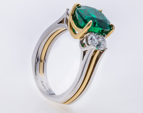 Equatorian Imports Colombian emerald two-tone ring