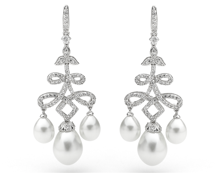 Georgini CZ pearl chandelier earrings