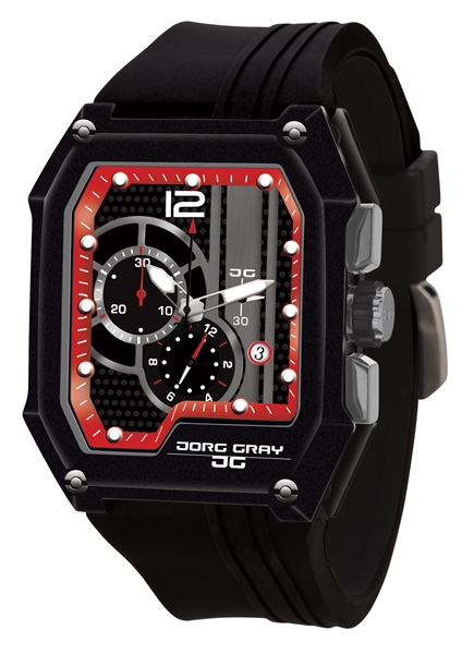 Jorg Gray men's black and red chronograph watch