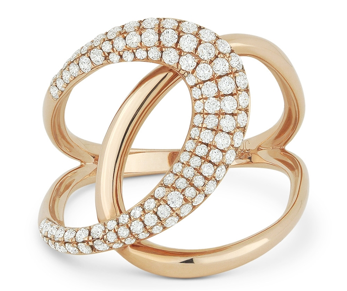 Madison L Designs pink gold diamond pretzel ring