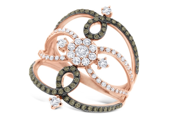 KC Designs champagne and white diamond lace ring