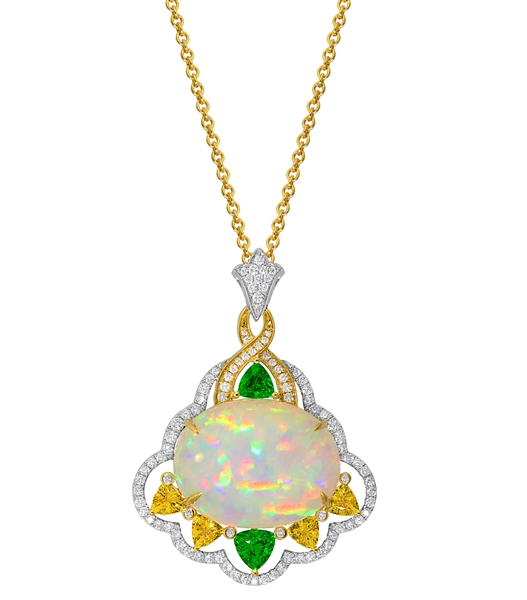 Spark opal pendant with sapphire and tsavorite