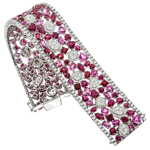 Steven Royce Designs mixed ruby and pink sapphire bracelet