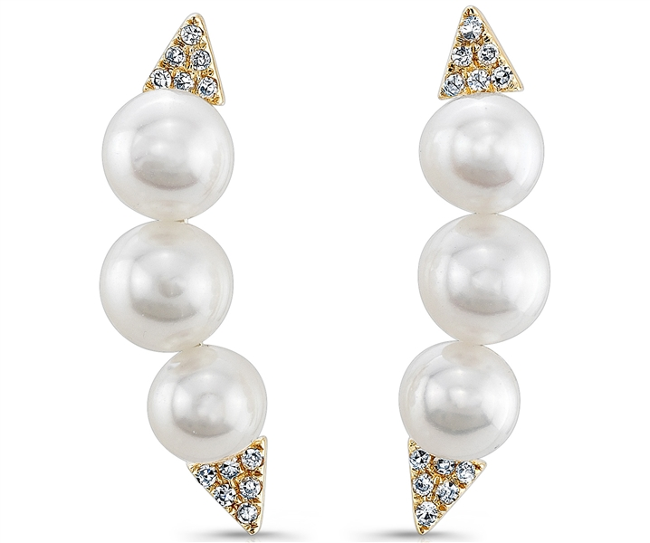 Majolie Collections pearl and diamond ear crawlers