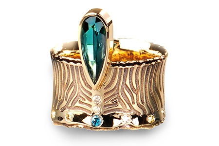 Margisa Golden Zebra tourmaline ring