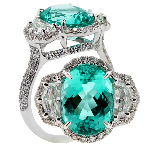 Samuel Sylvio Designs three stone paraiba and diamond ring