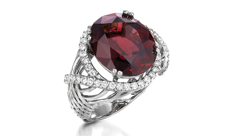 Alberto Collection rhodolite garnet and diamond swirl ring